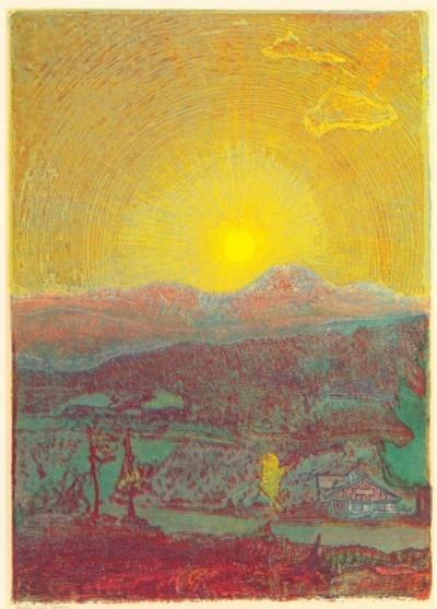 Josef Váchal ~ Sunset over Javor (Gr. Arber) mountain, 1932 (coloured woodcut)