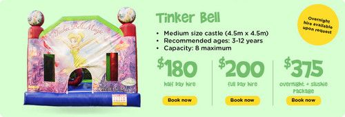 Tinker Bell : Ben 10 - Funky Castles, Servicing Brisbane's North side with children's jumping castles, slushie machines, party lights, smoke machines, and various other party hire needs.  http://funkycastles.com.au/our-products/tinker-bell/ | emilybrooker24