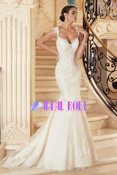 2016 Sexy Ouvrez Retour robes de mariée bretelles avec des perles et appliques…