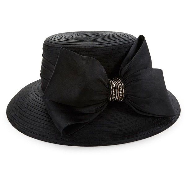 Giovannio Taffeta Bow Wide-Brimmed Hat ($85) ❤ liked on Polyvore featuring accessories, hats, black, wide brim hat, wide hat, bow hat, giovannio hats and brimmed hat