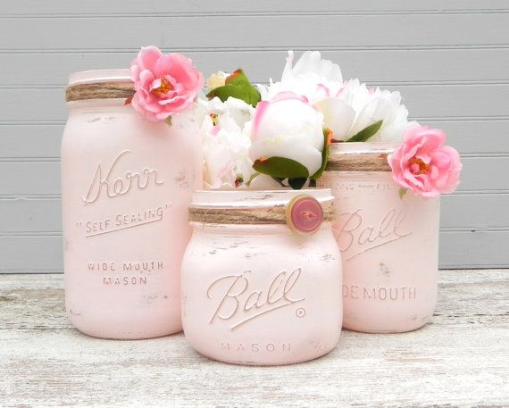 Shabby Chic Pink Mason Jars, Painted Mason Jars, Mason Jar Vases, Jars for…