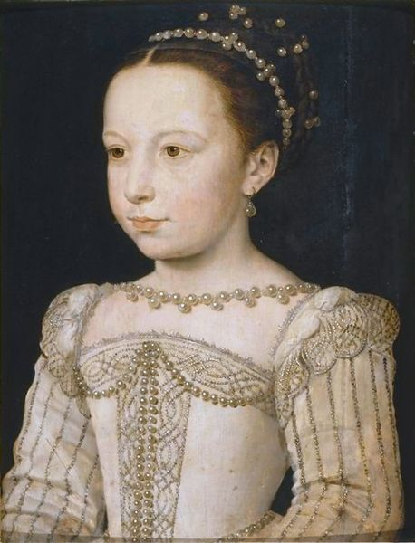 Marguerite de Valois, painted by Clouet in 1560. Photo: Musée Condé, Chantilly. Marguerite was  the daughter of King Henry II of France and Catherine de' Medici, and the sister of Kings Francis II, Charles IX and Henry III and of Queen Elizabeth of Spain. She became Queen of France and of Navarre during the late sixteenth century.