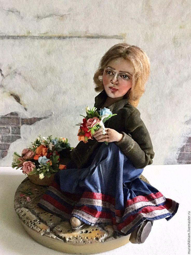 """Купить Текстильная кукла """"ЦВЕТОЧНИЦА"""" по мотивам Рачкова Н.Е. - коричневый, текстильная кукла"""
