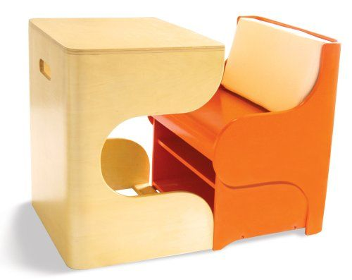 P'Kolino Klick Desk - Orange. Modern kids furniture. Modular desk and chair set that saves space in apartment. Clicks together to form a cube when children are done playing. Extra storage under the seat!!