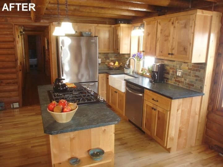17 best ideas about log cabin kitchens on pinterest for Diy small kitchen remodel