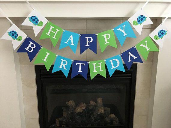 Turtle Birthday Banner Happy Birthday Banner Boy Birthday