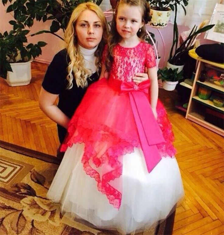 2016 New Shor Sleeve with Bow Sash Hot pink Princess Tulle Flower Girls Dresses For Weddings first communion dresses for girls