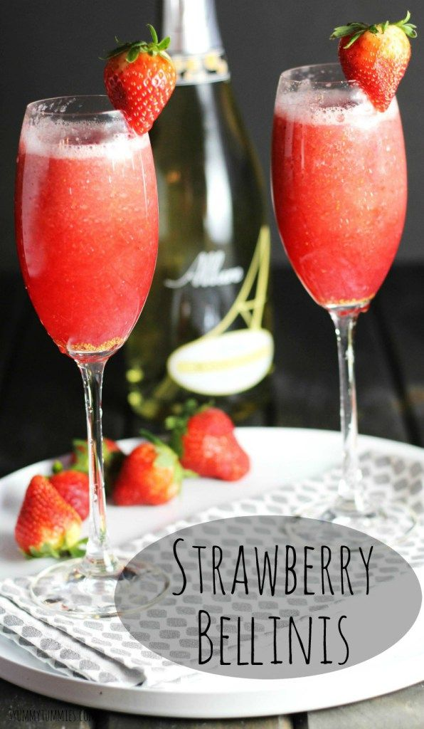 My favorite bubbly cocktail with sparkling moscato wine, strawberry puree and a dash of brandy!