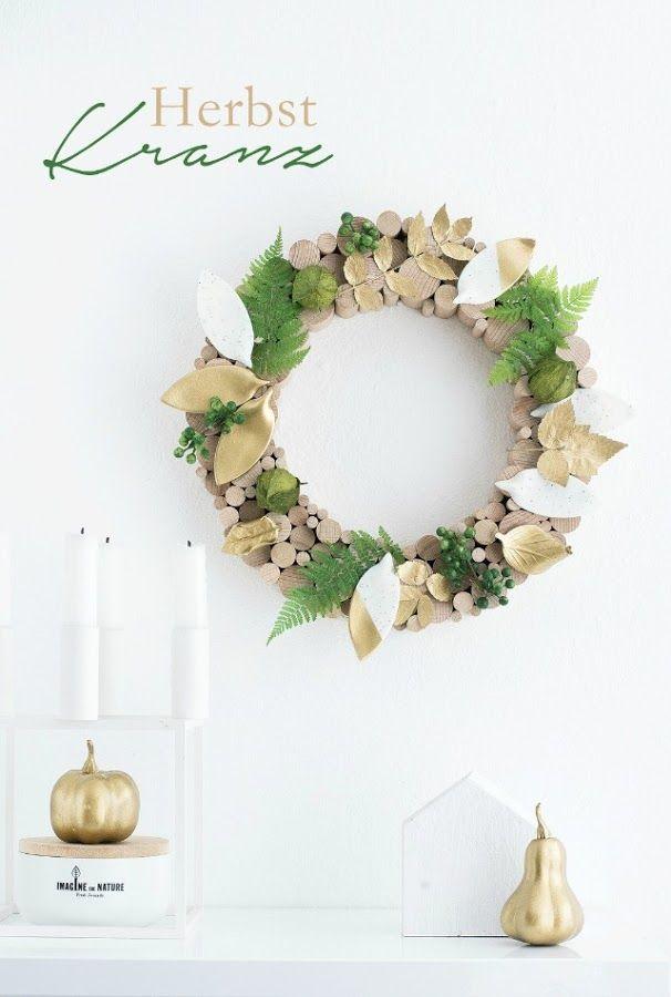 Corona natural con madera y hojas   Decoración