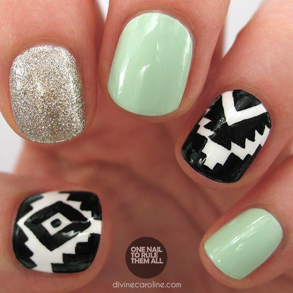 Love this Glitter Aztec Nail Art!