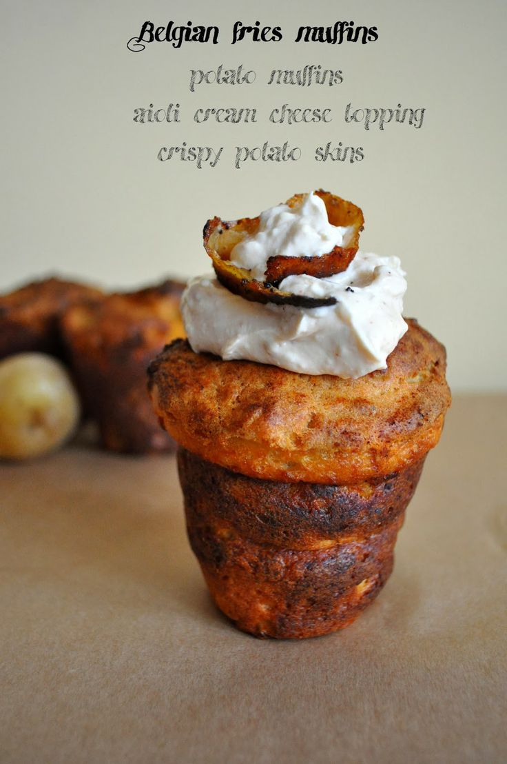 Cupcakes&company: Belgian fries muffins Potato muffins with aioli cream cheese topping and crispy potato skins