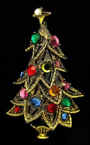 VTG HOLLYCRAFT RHINESTONE CHRISTMAS TREE PIN BROOCH | eBay