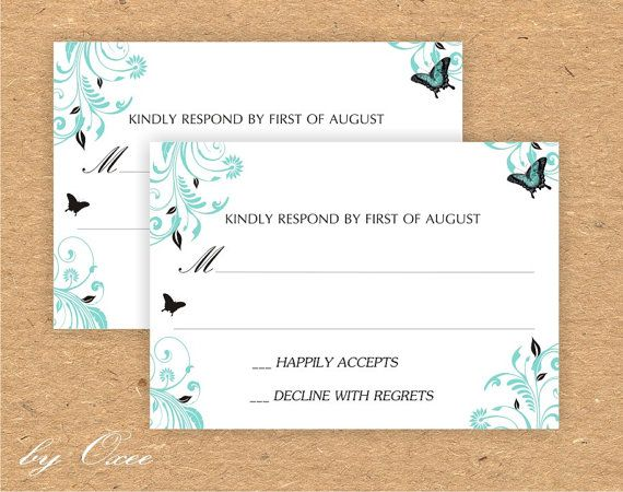 Printable wedding RSVP card template Tiffany blue and by Oxee