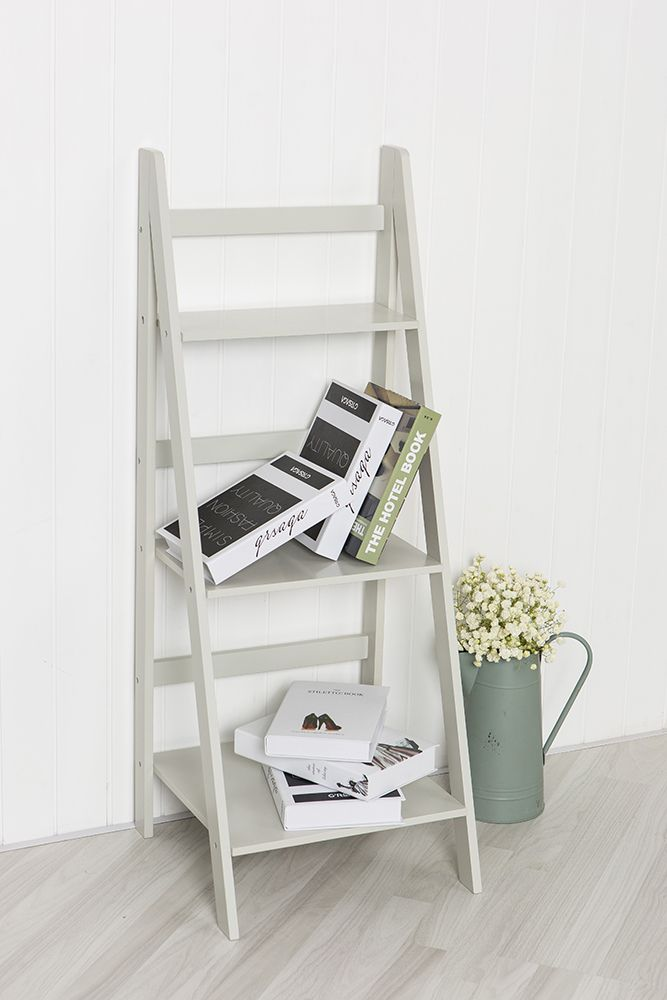 Ladder Book Shelf Bookcase Stand Free Standing Shelves Storage Unit in White Gre | eBay