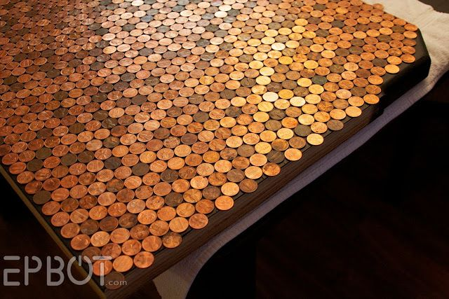 Excellent tutorial for a penny-covered table, desk, or worktop (with epoxy coating).