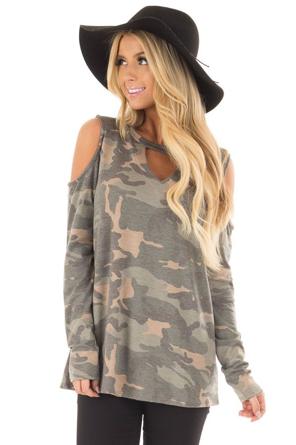 c3d080ee002364 Camo Cold Shoulder Top with Chest Cutout