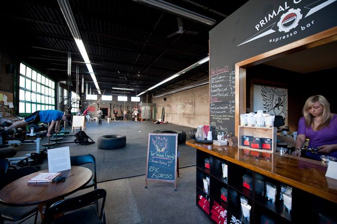 a paleo coffee shop inside a crossfit in toronto. they serve lattes with coconut milk and gluten free yummies from primal indulgence. Pure Genius