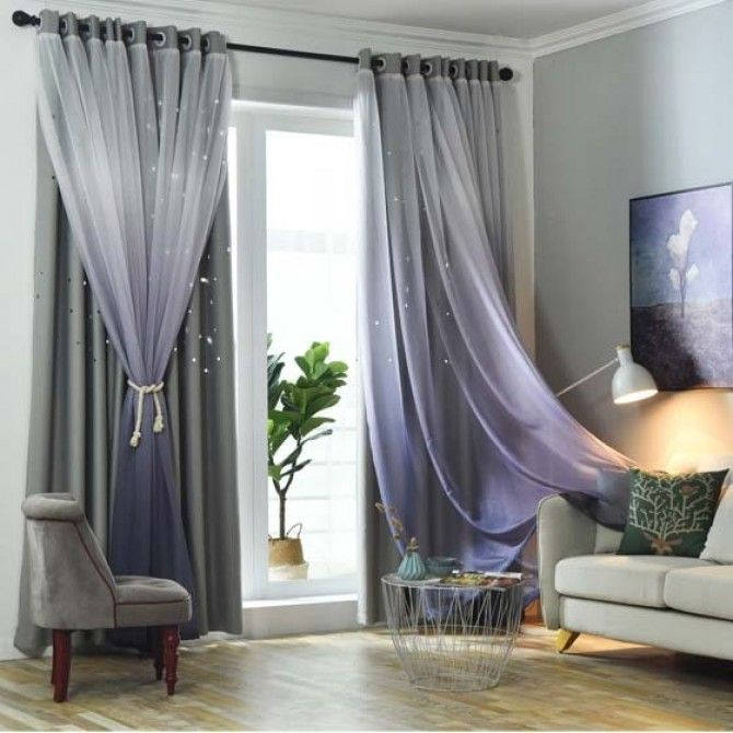 Stars Block Out Curtains In Grey Purple Shabby Chic Bedrooms