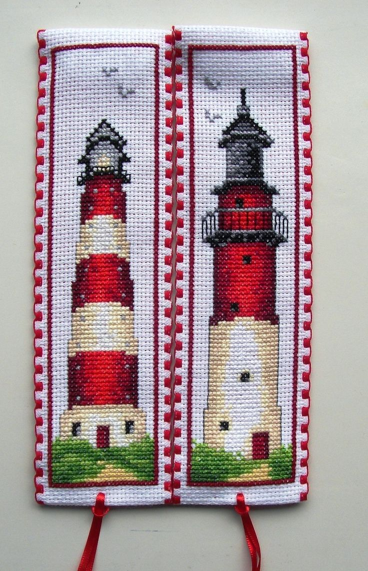 Cross stitch bookmarks. Red Lighthouses. Vervaco.