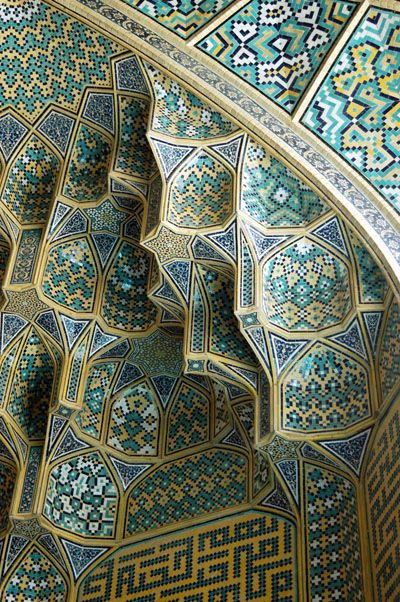 Tile work of the Masjid-e Imam mosque (Imam Mosque Isfahan) in Iran.