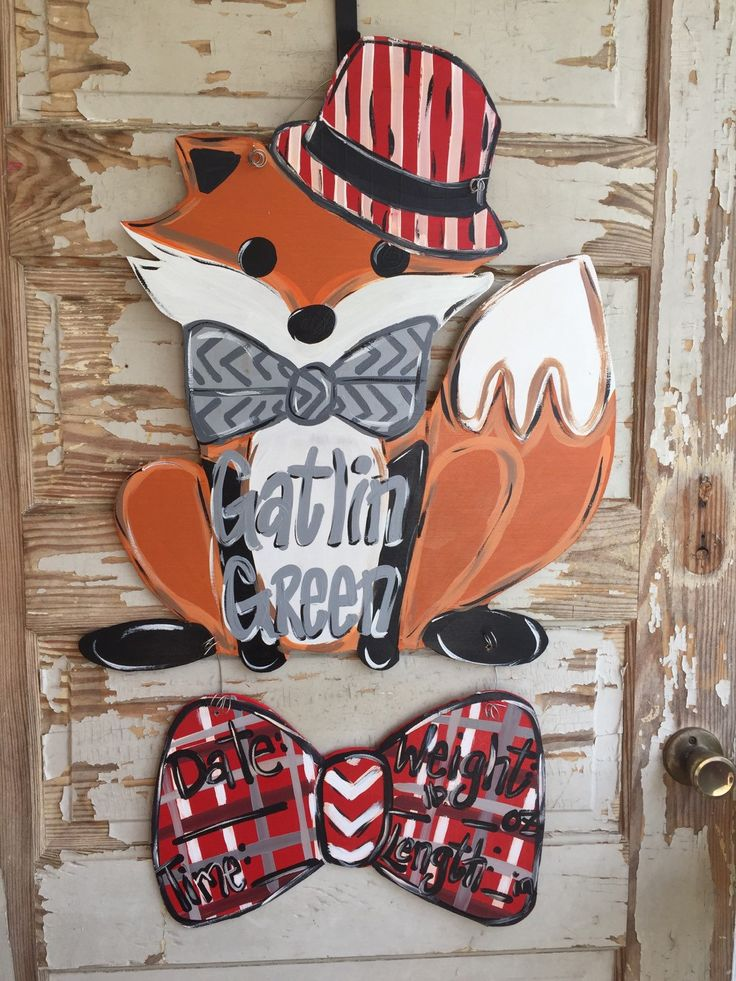Fox Birth Announcememt Hospital Door Hanger by queensofcastles on Etsy //. & 24 best Fox Door Hangers images on Pinterest | Burlap door hangers ... pezcame.com