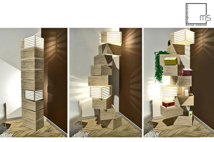 NASCONDINO, lampada salvaspazio in legno multistrato