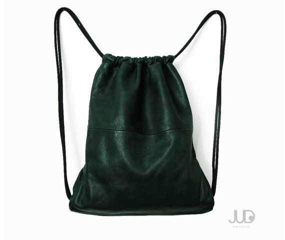 Washed green leather backpack  tote bag  multiway bag  by JUDtlv