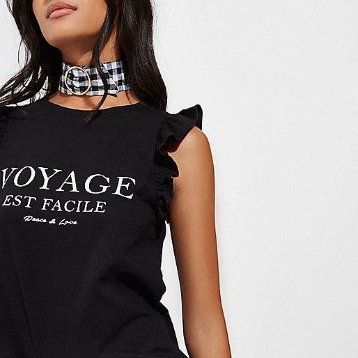 Jersey fabric 'Voyage' text print Frill sleeve detail Crew neck Our model wears a UK 8 and is 175cm/5'9'' tall
