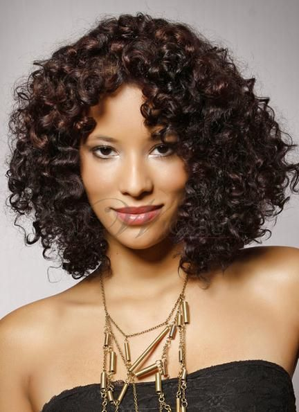 New Arrival Top Quality African American Hairstyle Medium Small Curly Lace Wig 100 Human Hair 16 Inches