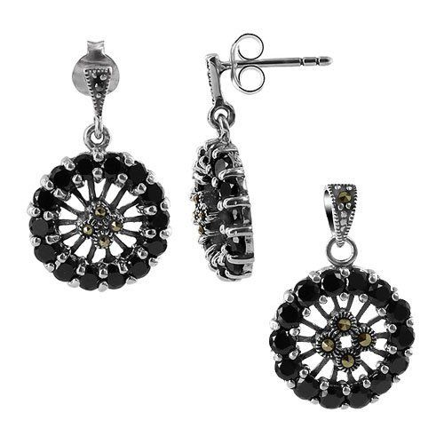 Sterling Silver Round Cubic Zirconia and Marcasite Post Back Findings Earrings and Pendant Jewelry Set Gem Avenue. $43.99. 13mm x 13mm Earrings. .925 Sterling Silver. 15mm x 15mm Pendant. Gem Avenue Sku # RUST081. Post Back Stud Earrings