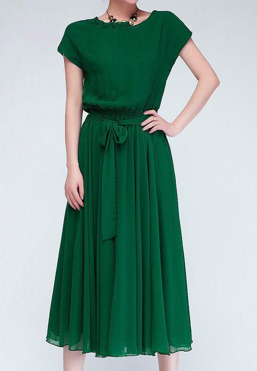 Green Short Sleeve Belt Pleated Chiffon Dress - Fashion Clothing, Latest Street Fashion At Abaday.com