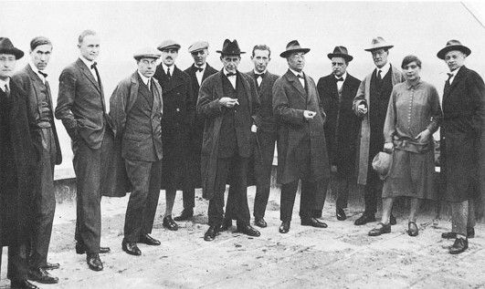 Josef Albers, Hinnerk Scheper, Georg Muche, László Moholy-Nagy, Herbert Bayer, Joost Schmidt, Walter Gropius, Marcel Breuer, Wassily Kandinsky, Paul Klee, Lyonel Feininger, Gunta Stozl and Oskar Schlemmer on the Roof of the Bauhaus in Weimar, Circa 1920