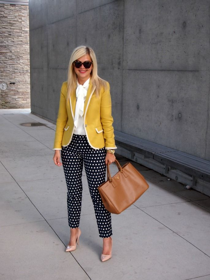 Excellent combo! Polka dots pants and mustard colored blazer!
