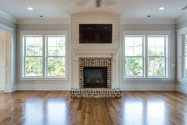 shiplap fireplace...do darker floors.  Love the fireplace