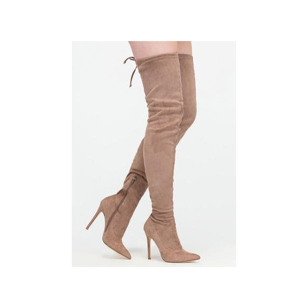 Crush Hard Faux Suede Thigh-High Boots ($26) ❤ liked on Polyvore featuring shoes, boots, over-the-knee boots, tan, faux suede knee high boots, stretch knee high boots, above the knee boots, knee high stiletto boots and faux suede over the knee boots
