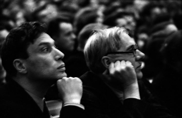Boris Pasternak and Korney Chukovskiy, 1935.  Pasternak and Chukovskiy, seen here in the hall of the 7th Komsomol Conference, in the Hall of Columns at the House of Soviets, Moscow. The two were friends and neighbors at their summer houses in Peredelkino.