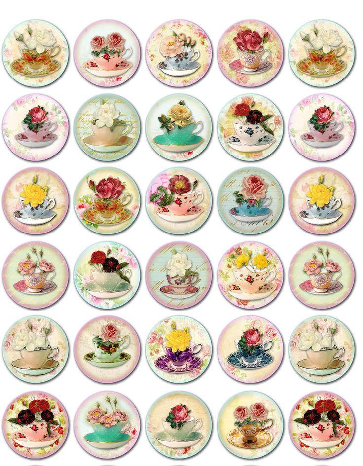 "Vintage inspired tea cups round bottlecaps 1"", 1.5"", 2"" stickers scrapbooking #Handmade"