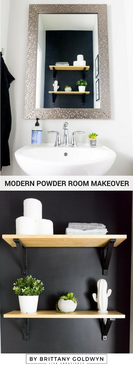 Photography Gallery Sites Modern powder room makeover on a budget with black walls and a glam mirror