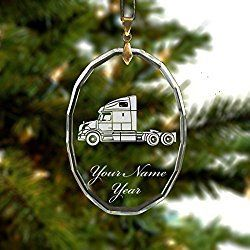 Personalized Oval Crystal Christmas Ornament - Truck Cab - Engraved for Free