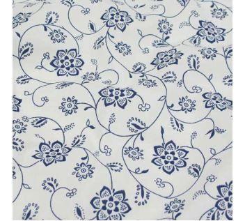 Bavlna bílá, modrý květ š.140