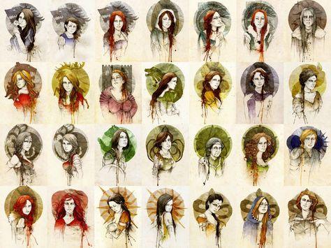 Women of Game of Thrones GoT: Lyanna, Arya, Sansa Stark, Alayne Stone, Lyssa, Catelyn Tully, Lady Stoneheart, Cersei Lannister, Myrcella Baratheon Walda Frey, Meera Reed, Jeyne Westerling, Shae, Taena Merryweather, Visenya, Daenerys Targaryen, Dacey Mormont, Asha Greyjoy, Olenna Redwyne, Margaery Tyrell, Brienne Tarth, Ygritte, Melisandre, Elia, Arianne Martell, Nymeria, Tyene, Obara Sand