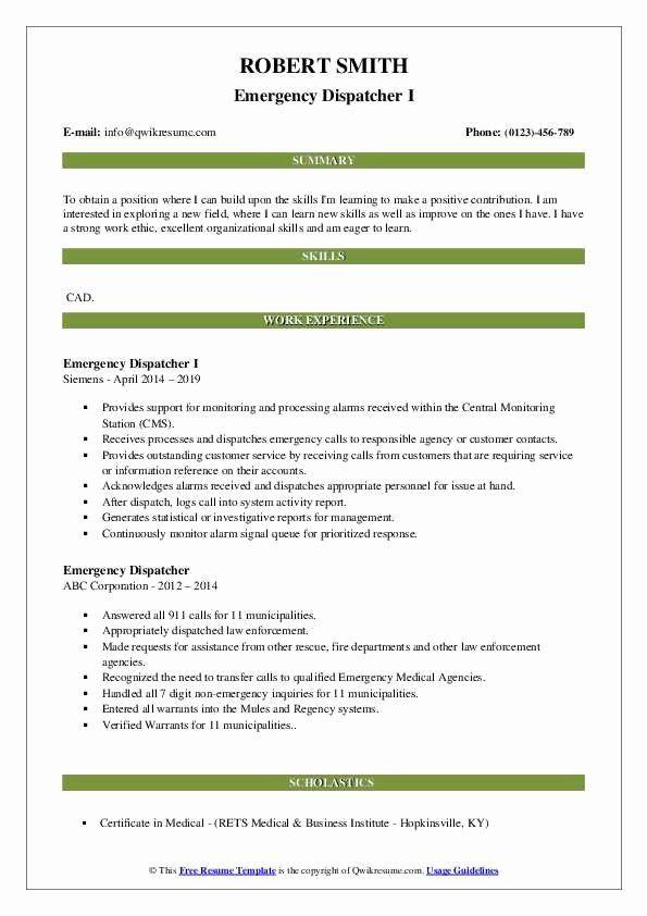 Dispatcher Job Description Resume Elegant Emergency Dispatcher Resume Samples Internship Resume Resume Examples Receptionist Jobs