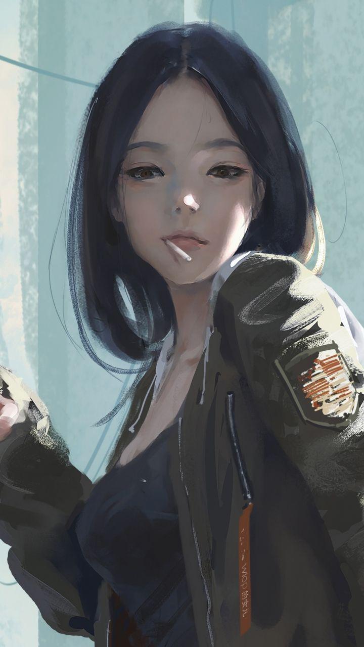 Urban, Asian girl, artwork, 720×1280 wallpaper