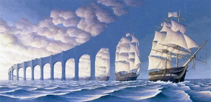 11 ilusiones ópticas.Obra de arte creada por Rob Gonsalves, un pintor canadiense de realismo mágico. Dependiendo del ángulo de la imagen, verás un arco de un puente largo, o velas de barco. Todo-Mail