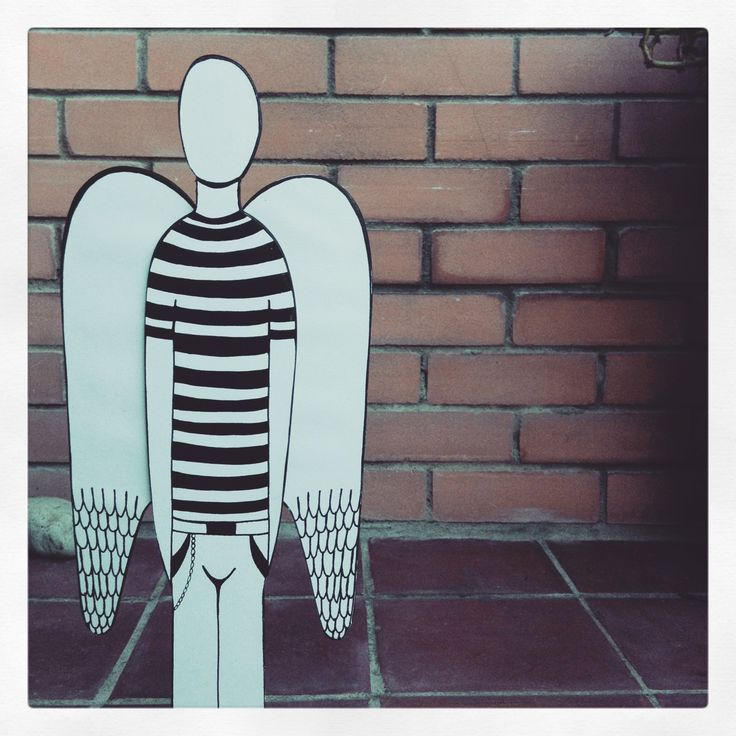 Black and white wood angel print