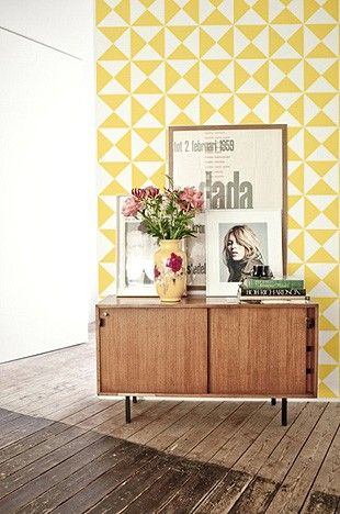 Yellow Triangles Wall Decal - Adhesive Art - Temple & Webster presents