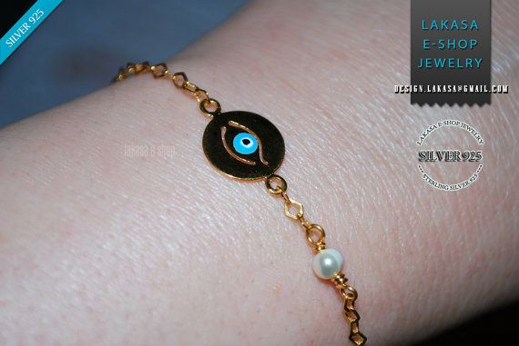 Enamel Eye Bracelet 925 Sterling Silver Gold-plated with Pearl in Chain silver 925 Gold-plated - Lakasa eShop Jewelry - Fine Greek Art #freeshipping #enamel #eye #bracelet #jewelry #sterling #silver #jewellery #gift #woman #moda #luxury #fine #joyas #mujer #βραχιολι #ασημι #γυναικα #δωρο #κοριτσι #φυλαχτο #αντικαταβολη #δωρεαν Χειροποίητο Βραχιόλι ματακι Φυλαχτο σε αλυσίδα 925 με μαργαριταρι Ασήμι 925 Επιχρυσωμένο Ελληνικο Χειροποιητο Κοσμημα