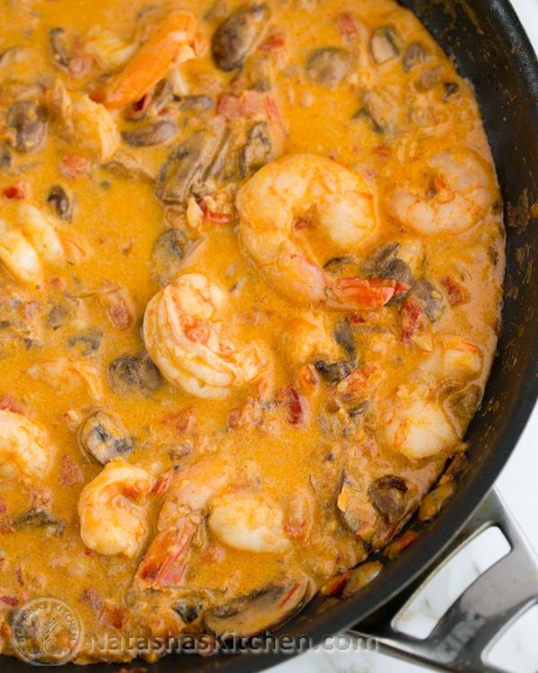 Shrimp & Mushrooms in a Garlic Bisque Sauce. Serve over rice, pasta or potatoes. My friend made this and I shamelessly refilled my bowl thrice! So. Good.