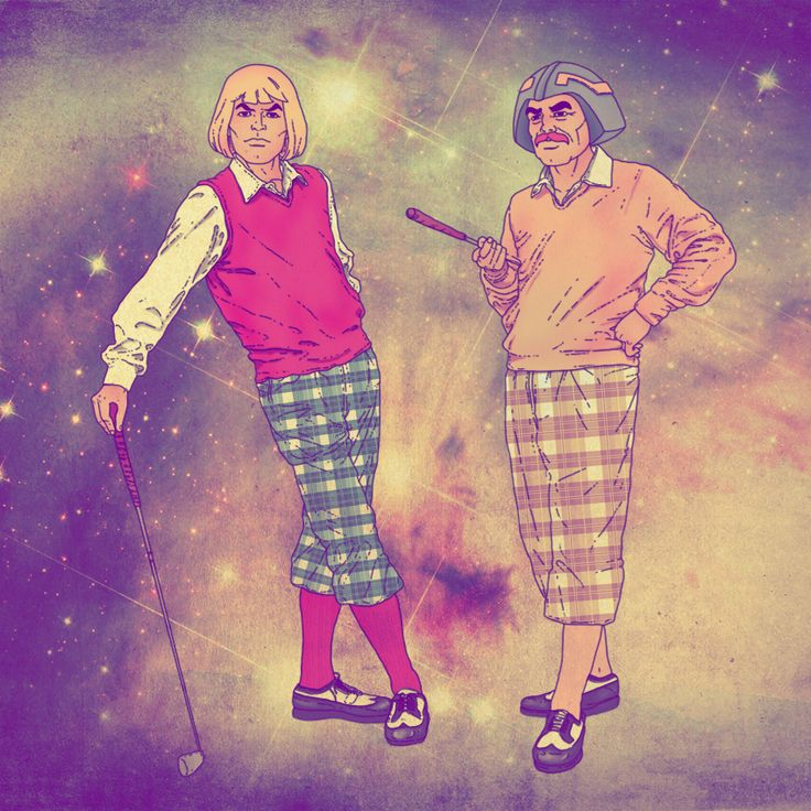 He-Man and Man At Arms hit the links.    Credit: http://www.geek-art.net/the-geek-art-of-fabian-ciraolo/