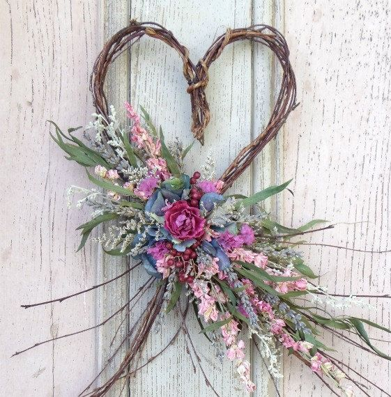 Dried Flower Twig Heart Wall Arrangement by treasuredflorals, $24.00